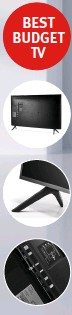 ??  ?? The set has a fairly wide footprint; the feet are plasticy but elegant; just the two HDMI ports