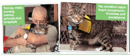 ??  ?? Tommy visits nursing homes, schools and hospitals His condition helps teach compassion, kindness and acceptance