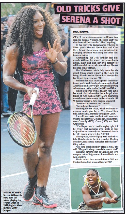 ??  ?? STREET FIGHTER: Serena Williams in New York last week; playing the French Open in 1999 (right). Main picture: Getty Images