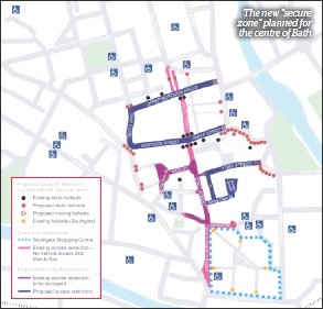 """??  ?? The new """"secure zone"""" planned for the centre of Bath"""