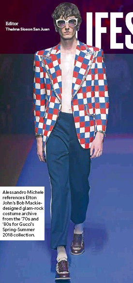 ??  ?? Alessandro Michele references Elton John's Bob Mackiedesigned glam-rock costume archive from the '70s and '80s for Gucci's Spring-Summer 2018 collection.
