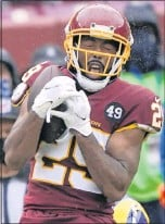 ?? THE ASSOCIATED PRESS ?? Kendall Fuller's versatility — he's an outside cornerback who can play slot cornerback or safety— may come in handy withWashington's starting safeties injured.