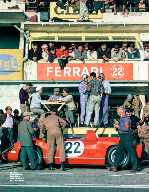 ??  ?? E ortless glamour in the Ferrari pit in 1964, its last win as a factory team xxxx