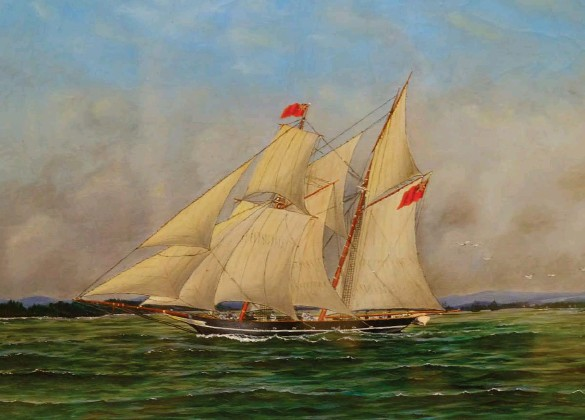??  ?? The Liver­pool Packet was built for speed, as ev­i­denced by its an­gled mast and long bowsprit. This paint­ing of the Packet dur­ing the War of 1812 is by Thomas Hay­hurst.