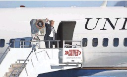 ??  ?? President Donald Trump waves as he boards Air Force Two at Sky Harbor International Airport to depart Phoenix on Saturday.