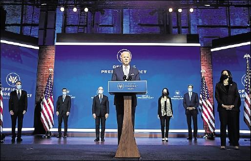 ?? Foto: AFP/Chandan Khanna ?? Ehrgeizige Pläne: Joe Biden will mit seinem Kabinett einen Großteil der Politik Trumps umkrempeln.