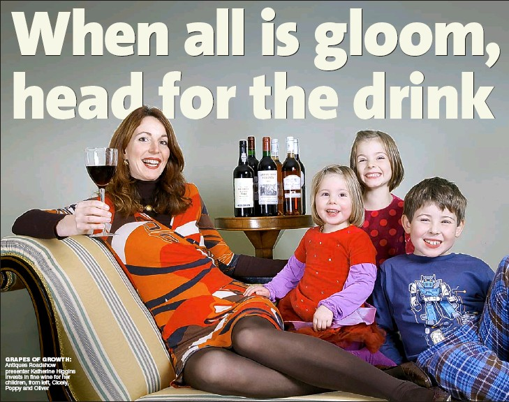 ??  ?? GRAPES OF GROWTH: Antiques Roadshow presenter Katherine Higgins invests in fine wine for her children, from left, Cicely, Poppy and Oliver