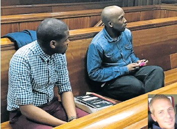 ?? Pic­ture: KATHRYN KIM­BERLY ?? THE AC­CUSED: Charles Nqaba, left, and Jab­u­lani Mk­aba in the dock DEVIN HAT­TINGH