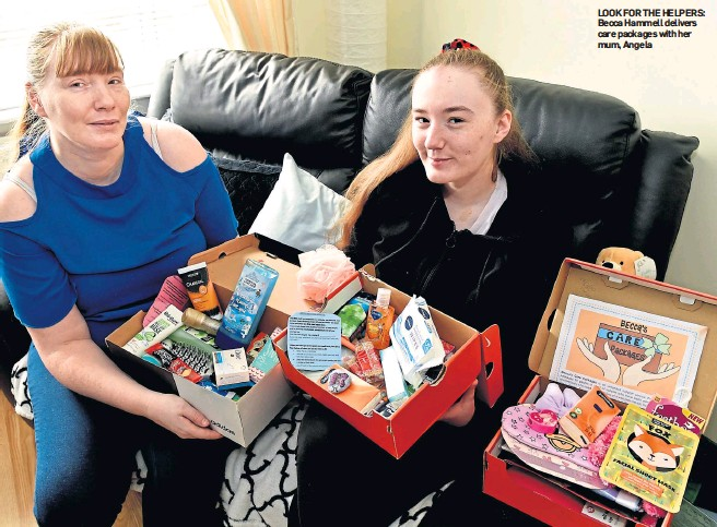 ??  ?? LOOK FOR THE HELPERS: Becca Hammell delivers care packages with her mum, Angela