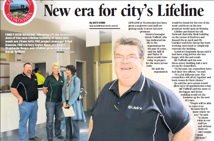 ?? PICTURE: BEV LACEY ?? FANCY NEW BUILDING: Showing off the reception area of the new Lifeline building to open next week are (from left) FKG project manager Athol Gossow, FKG's Kristy Taylor-Rose, architect Stephanie Keays and Lifeline general manager Derek Tuffield.