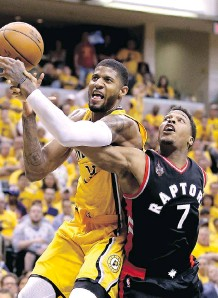 ?? ANDY LYONS/ GETTY IMAGES ?? As Kyle Lowry and his Toronto Raptors teammates gain momentum in their first-round NBA playoff series, the pressure continues to build on Indiana Pacers top gun Paul George and his teammates to reverse Toronto's momentum and gain some of their own.