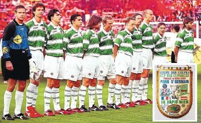 ??  ?? Rapids Startelf im Europacup-Finale gegen Paris Saint-Germain 1996 in Brüssel: Konsel, Schöttel, Hatz, Guggi, Heraf, Stöger, Marasek, Stumpf, Jancker, Kühbauer, Ivanov (v. li.).