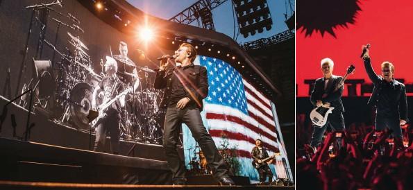 ??  ?? The Joshua Tree Tour scrum downs at Twickenham; rewind to Vancouver, and Bono hails London