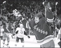 ?? By Frank Franklin II, AP ?? Happy day: The Rangers' Brian Boyle celebrates his second-period goal during Thursday's 4-2 playoff win vs. the Senators.