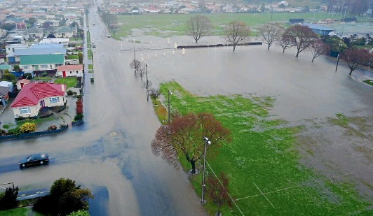 ??  ?? An aerial shot of Oamaru inundated with water which caused flooding all over the town yesterday.