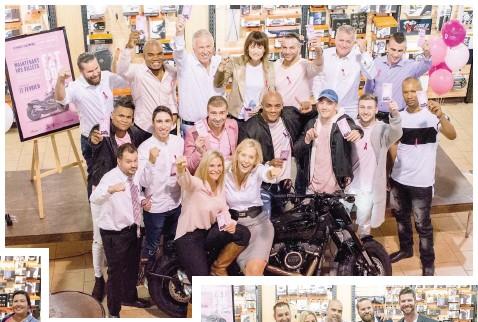 ??  ?? Plusieurs personnalités du monde de la boxe étaient présentes lors du coup d'envoi du tirage d'une Harley Davidson Fat BOB 2018, au profit de la fondation du cancer du sein du Québec.