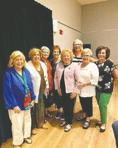 """??  ?? """"Life is so deadly serious that you can't treat it that way,"""" says Trudy Berlin, left, with members of her Ladies Room discussion group in Boca Raton, Fla., before the pandemic. """"You have to lighten it up."""""""