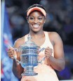 ?? JULIO CORTEZ/ASSOCIATED PRESS ?? Sloane Stephens, shown after winning the U.S. Open on Sept. 9, was a Coleman Vision quarterfinalist in 2010.