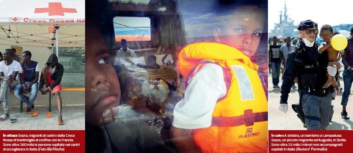 ??  ?? In attesa Sopra, migranti al centro della Croce Rossa di Ventimiglia al confine con la Francia. Sono oltre 160 mila le persone ospitate nei centri di accoglienza in Italia (Foto Afp/Hache) In salvo A sinistra, un bambino a Lampedusa. Sopra, un piccolo...