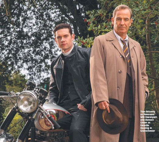 ??  ?? Tom Brittney as Reverend Will Davenport and Robson Green as Geordie Keating in Grantchester
