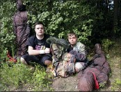 """?? ELISE AMENDOLA, FILE - THE ASSOCIATED PRESS ?? In this July 12, 2016, file photo, Sam Suchmann, left, and Mattie Zufelt pose with ghoulish figures at Sam's home in Providence, R.I. The two young men who caused a sensation four years ago when they created their own gory zombie movie are back, this time in a documentary championed by a Hollywood luminary that chronicles their tenacious, years-long effort to see their silver screen dream come to fruition. """"Sam & Mattie Make a Zombie Movie,"""" was released Tuesday, April 6, 2021, on Apple TV."""
