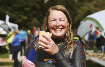 ??  ?? Fi in a jubilant mood in 2017 after successfully finishing the Dart 10K, a challenging open-water swimming event that starts from Totnes