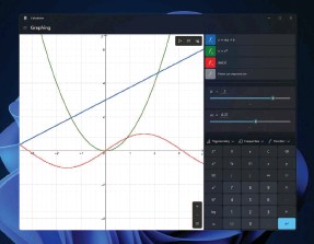 ?? ?? The Windows Calculator app (shown here within Windows 11) hides some powerful features like this graphing calculator.