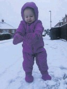 ??  ?? • Lilly-May's first time in the snow