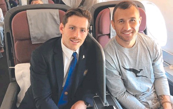 ??  ?? FLYHALF CONTENDERS: Bernard Foley (left) and Quade Cooper depart for the US to prepare for Australia's next game in Chicago. Picture: Twitter