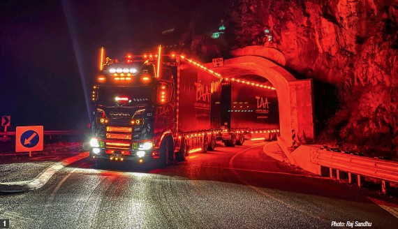 ??  ?? Photo: Raj Sandhu 1 & 8) It may be all-black, but there's no missing Black Panther after dark; 2, 4 & 5) Everything you'd need for life on the road.; 3) Scania's NTG wrap never fails to impress; 6) Subwoofers discreetly hidden, until you hear them… 7) Entryway gets a subtle red glow.
