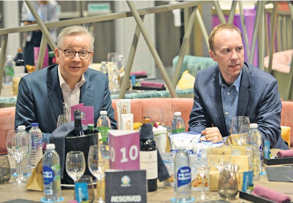 ??  ?? Michael Gove, the Chancellor of the Duchy of Lancaster, and Matt Hancock, the Health Secretary, watching the Euro 2020 scoreless draw between England and Scotland at Wembley on Friday night