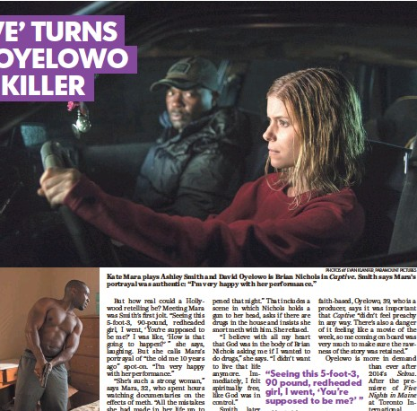 """?? PHOTOS BY EVAN KLANFER, PARAMOUNT PICTURES ?? Oyelowo's Brian Nichols is on the run after shooting four people, including a judge. Kate Mara plays Ashley Smith and David Oyelowo is Brian Nichols in Captive. Smith says Mara's portrayal was authentic: """"I'm very happy with her performance."""""""