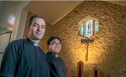 ?? PHOTO: JOHN KIRK-ANDERSON ?? Graeme Blackburn and Alister Castillo, right, are among three men newly ordained as Catholic priests, a rare occurrence in Christchurch.