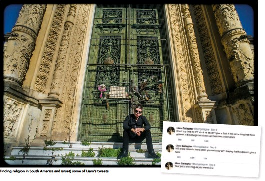 ??  ?? Finding religion in South America and (inset) some of Liam's tweets