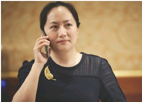 ?? PHOTO SHUTTERSTOCK ?? OPPOSITE PAGE One of the new 5G poles designed by Huawei in comparison with the 4G system. BELOW On 1 December 2018, Huawei CFO and daughter of the companys founder Meng Wanzhou was arrested in Canada as instructed by the US as the company has allegedly violated US trade sanctions.