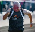 """?? GARY SCHOTTLE VIA AP ?? Derek """"Tank"""" Schottle competes in the 100 meters as part of the pentathlon at a Special Olympics track meet in Texas in 2017."""