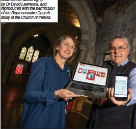 ??  ?? All stained glass images (except Bride Street, above right) by Dr David Lawrence, and reproduced with the permission of the Representative Church Body of the Church of Ireland. At the launch of the HeritageMaps.ie Irish Stained Glass Revival map in St Canic Kelly, Head of Policy and Research, the Heritage Council; Patrick Bowe, husban Reid, HeriageMaps.ie Project Manager.