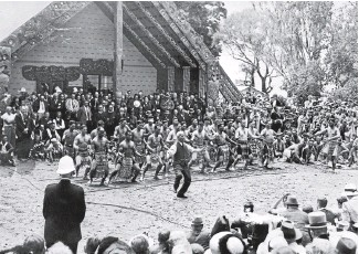 ?? PHOTO: ALEXANDER TURNBULL COLLECTION ?? Sir Apirana Ngata leads the haka at Waitangi in 1940, on the 100th anniversary of the Treaty of Waitangi being signed. He later told the crowd: ''I do not know of any year the Maori people have approached with so much misgiving as this centennial.''
