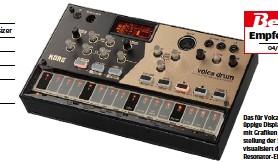 ??  ?? Das für Volca-Verhältnisse üppige Display unterstützt mit Grafiken die Einstellung der Sounds und visualisiert den gewählten Resonator-Effekt