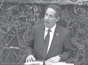 """?? SENATE ?? """"This cannot be the future of America. We cannot have presidents inciting and mobilizing mob violence,"""" impeachment manager Jamie Raskin says."""