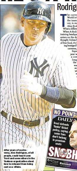 ??  ?? After years of controversy, Alex Rodriguez, of all people, could teach Lonn Trost and some others in the Yankees organization about how to rebound from being cast as a villain.