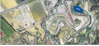 ??  ?? Localización de los terrenos destinados para la construcción de un hotel dentro del Circuito.
