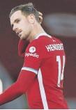 ??  ?? Liverpool's Jordan Henderson.