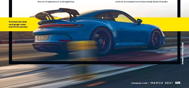 ??  ?? Porsche's new swanneck spoiler comes with 911 GT3 attached