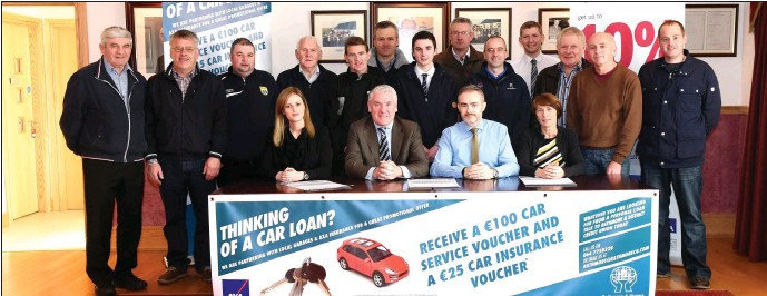 Launching the Rathmopre Credit Union Car Loan Project were Verniece O' Sullivan of O'Sullivans Mazda Motors, Terry Downes AXA Insurance, Kieran Crowley ...