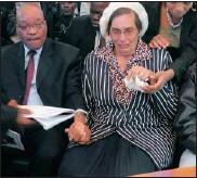 ?? PICTURE: ZIPHOZONKE LUSHABA ?? President Jacob Zuma and Veronica Luboya-Muanza during the funeral of Johanna Cecilia du Plessis in Randburg yesterday.