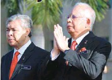 ?? BERNAMAPIX ?? Najib with Deputy Prime Minister Datuk Seri Ahmad Zahid Hamidi at the monthly meeting of the Prime Minister's Department.