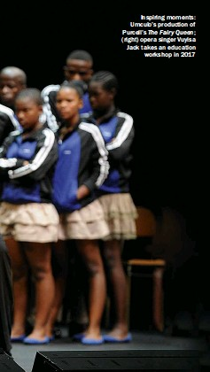 ??  ?? Inspiring moments: Umculo's production of Purcell's The Fairy Queen; (right) opera singer Vuyisa Jack takes an education workshop in 2017