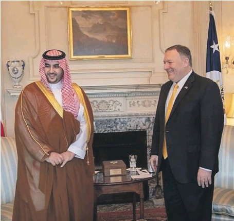 ?? SPA ?? Prince Khalid bin Salman of Saudi Arabia and US Secretary of State Mike Pompeo meet in Washington to discuss Yemen