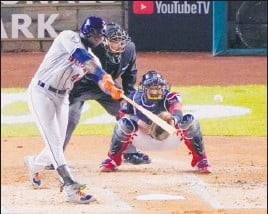 ?? ASSOCIATED PRESS FILE ?? Houston Astros designated hitter Yordan Alvarez smashed 27 homers, batted .313, drove in 78 and had a 1.067 OPS in 87 games.